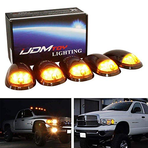 iJDMTOY 5pc Smoked Lens Amber LED Cab Roof Marker Light Kit Compatible With...