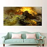 N / A Canvas Poster Art Print Cloud Abstract Color Light Brown Oil Painting Living Room Wall Picture Frameless 70x140cm