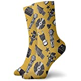 Tammy Jear Calcetines de vestir estampados para hombre y mujer Música Calcetines coloridos divertidos y novedosos Crazy Crew 30 cm