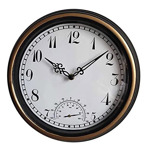 LLYX-Reloj de jardín, Reloj De Pared De Plástico Impermeable De 12 Pulgadas, Reloj De Pared De Plástico para Jardín Al Aire Libre, Reloj De Pared con Termómetro Retro Creativo