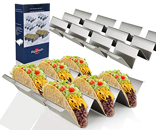 """Taco Holder Stands Stainless Steel Set of 6 with Easy-Access Handle, Oven, Grill, and Dishwasher Safe, Smooth Edge, Size: 4"""" x 8"""""""