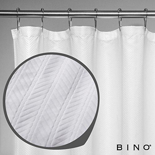BINO 'Herringbone' Fabric Shower Curtain - 70' x 72' - White Shower Curtain Fabric, Mildew Resistant Shower Curtains for Bathroom Shower Curtains Bathroom Curtain