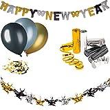 L+H Silvester Deko Set 2021   Party Set mit über 50 Teile   2,5m Happy New Year Girlande, 9X Luftballons Gold/Silber/metallic, 1x Streudeko Konfetti Gold/schwarz, 1x Drahtgirlande, 3X Luftschlange