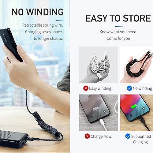 Mcdodo cavo elastico USB C a spirale cavo retrattile di tipo C cavo di ricarica e sincronizzazione dati QC 4.0 cavo di ricarica da auto, per S10 S9 S8 Huawei P30 P20 allungabile fino a 1,8 m Nero