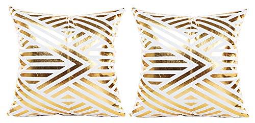 2 kussenslopen vierkant kussen - sierkussen - 44 x 44 cm - bank - linnen - huis - bed - meubels - slaapkamer - goud bedrukt - geometrisch patroon - wit - origineel geschenkidee
