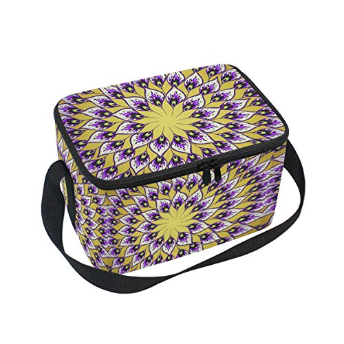 Ahomy Boîte à déjeuner kaléidoscope Mandala Isotherme Sac fourre-Tout Isotherme pour l'extérieur, l'école, Le Bureau, Les boîtes à déjeuner Organisateur pour Enfants et Adultes