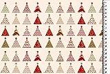 Hemmers Baumwolle Weihnachten Tannenbaum Creme - Stoff -