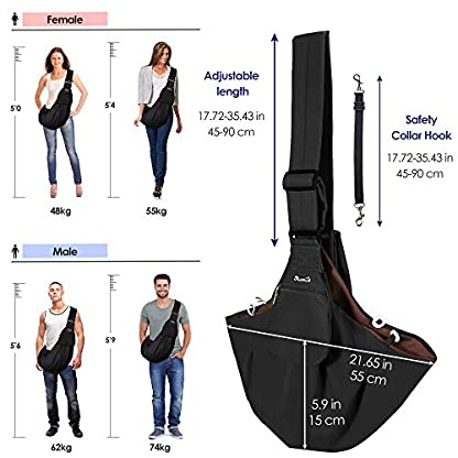 SlowTon Pet Carrier, Dog Cat Hand Free Waterpoof Sling Carrier Shoulder Bag Adjustable Strap Tote Bag with Front Pocket Safety Belt Outdoor Travel Puppy Carrier for Daily Use 3