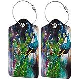 Opulent Peacocks - Juego de etiquetas de equipaje de lujo de cuero personalizado