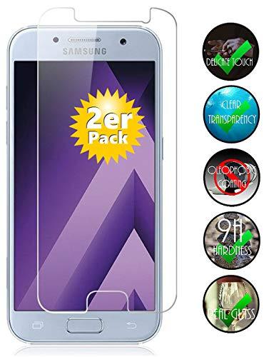 Smartphone-Equipment [2er Pack] Panzerglas für Samsung Galaxy A3 2017 Echt-Hartglas 9H, Glasfolie Schutzfolie Glas Folie Panzerfolie Bildschirm Schutz