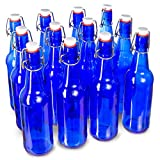 16 oz. Blue Glass Grolsch Beer Bottle, Pint Size - Airtight Seal with Swing Top/Flip Top Stoppers - Supplies for Home Brewing & Fermenting of Alcohol, Kombucha Tea, Wine, Homemade Soda (12-Pack)