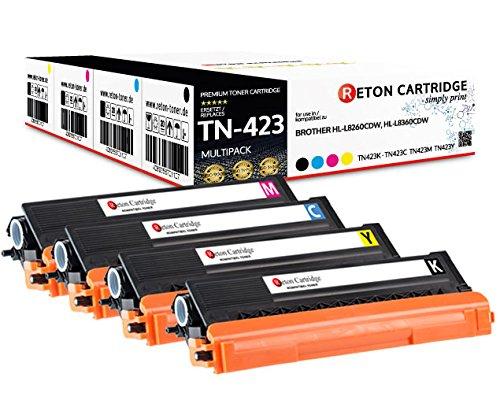 4 Original Reton Toner | 40% höhere Druckleistung | kompatibel zu TN-423 TN-421 für Brother DCP-L8410CDW, HL-L8260CDW, HL-L8360CDW, MFC-L8690CDW, MFC-L8900CDW | Geprüft nach ISO-Norm 19798|
