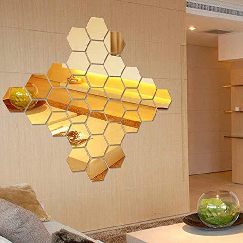 12st regelmatige zeshoek honingraat decoratieve 3D acryl spiegel muurstickers woonkamer slaapkamer poster Home Decor kamer decoratie, goud, 46mm