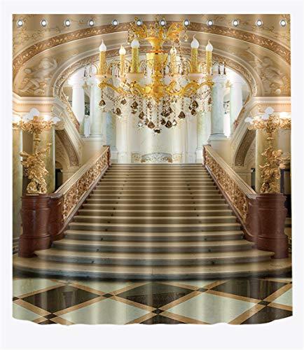 ZZZdz kroonluchter in paleis. Huisdecoratie. Douchegordijn. 180 x 180 cm. 12 vrije haken. 3D Hd-druk. Rijke patronen.