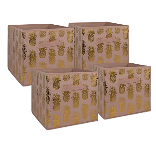 DII Non-Woven Fabric Storage Bins With Removable Bottom, Small (4), Pink/Gold 4 Piece