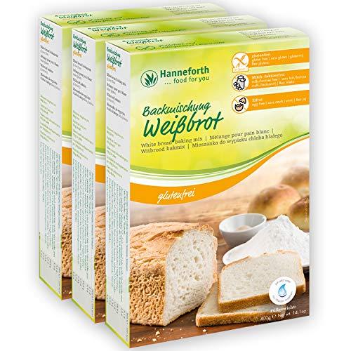 Glutenfreie Backmischung Weißbrot, Toastbrot | 3x400gr | Hanneforth