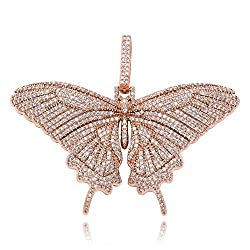 Pink Iced Out Diamond Flat Butterfly Pendant Necklace