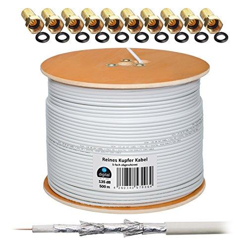 135dB 500m Koaxial SAT Kabel Reines KU Kupfer Koax Kabel Antennenkabel 5-fach geschirmt für DVB-S / S2 DVB-C und DVB-T BK Anlagen + 100 vergoldete F-Stecker mit Gummiring SET Gratis dazu von HB Digital