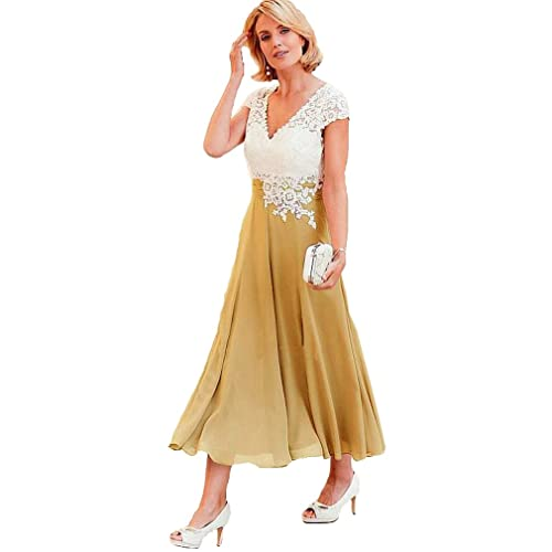 Tea Length Mother of the Bride Dresses in Gold
