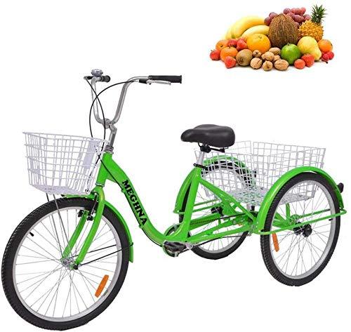 24-Zoll-Dreiräder für Erwachsene Serie 7-Gang-3-Rad-Fahrräder für Dreiräder für Erwachsene Trike Cruise Bike Großer Korb für die Freizeiteinkaufsübung Männer-Damen-Fahrrad-Grün Well