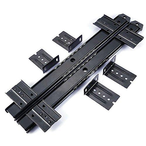 HomDSim - Guía deslizante para teclado de escritorio, con rodamiento de bolas, 35,5 cm, 3/4 de extensión, de acero, ajustable, de alta capacidad, montaje bajo el escritorio con tornillos