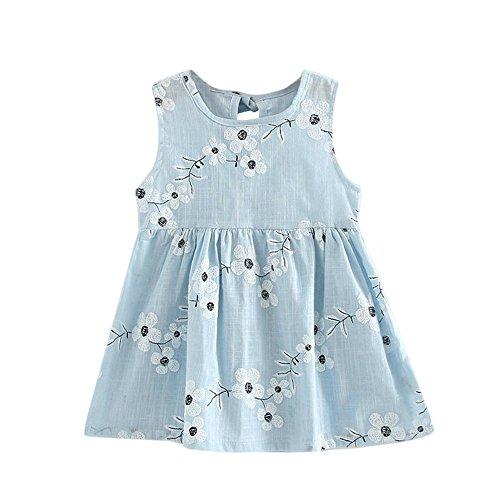 YWLINK Kleinkind MäDchen Sommer Prinzessin Kleid Mit Blume Stickerei Baby Party Hochzeit ÄRmellose Bequem Süß Kleider(Hellblau,130)