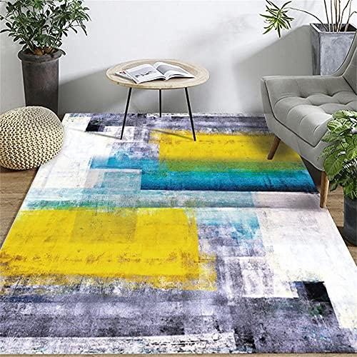 tappeto soggiorno moderni Tappeto giallo e viola con motivo a inchiostro anti-fatica lavabile moderno tappeto antiscivolo tappeto cameretta bambina -giallo_120x180