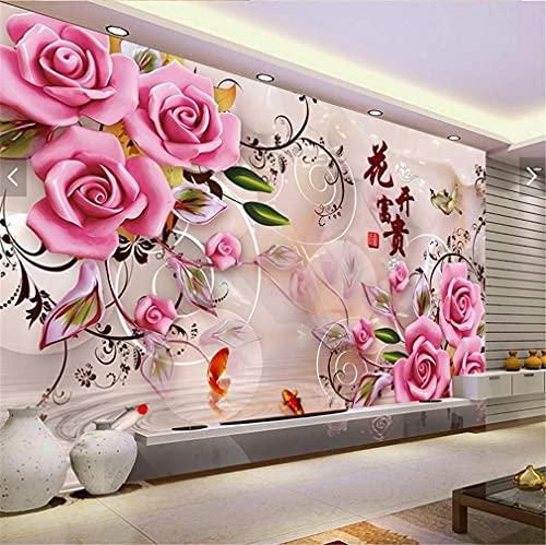 IF.HLMF 5D Rosa Rosa Diamante Pintura Bordado Redondo de Diamantes de Imitación Artesanía DIY Lienzo Decoración de la Pared (100x40cm)