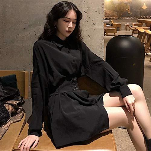 Mcttui Vestido Lolita Lolita Vestido Streetwear Camisa Primavera otoño Corto Camisa Negra Patinador a-liare Fiesta para Mujeres Hebilla de Metal la Cintura Vestidos Ropa gótica