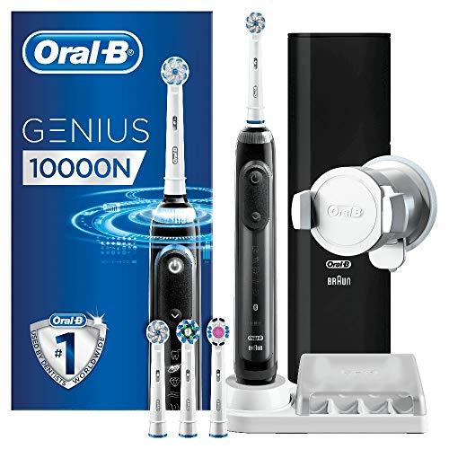 Oral-B Genius 10000N Spazzolino Elettrico Ricaricabile con 1 Manico Nero Notte Connesso, 6 Modalità tra cui Sbiancante e Denti Sensibili, 2 Testine di Ricambio, 1 Custodia da Viaggio Smart