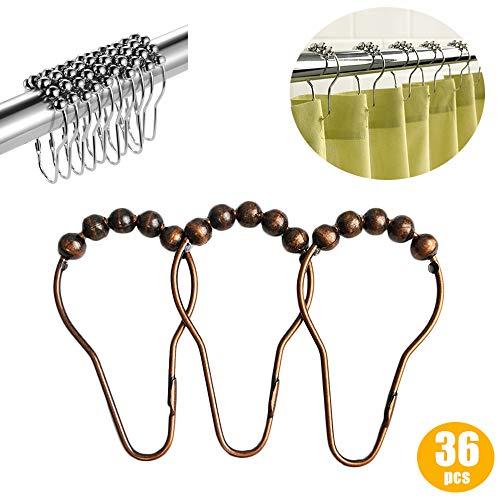 X-BLTU 36St Duschvorhang Ringe Haken für Bad Duschstange (Chrom, 8 Roller Balls, Double Glide, Edelstahl Rostfrei) (Bronze)
