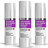 Night Retinol Cream - Natural Swiss Anti-Aging Formula Features Retinol, Hyaluronic Acid, Coconut Oil, Moringa Oil, Vitamin E For Men & Women (3 Pack)