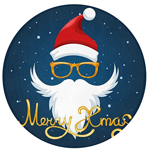 HMYATSO Santa Hat Glasses and Beard Non Slip Absorbent Doormat Resist Dirt Front Door Mat 4060