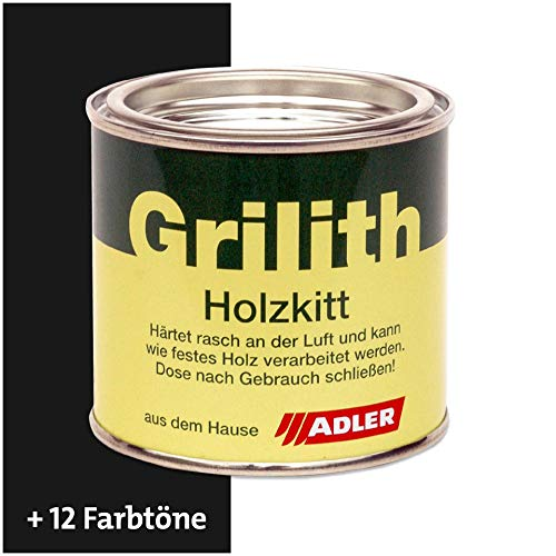 ADLER Grilith Holzkitt Spachtelmasse Kitt für Holz Möbel Basteln Reparieren Schwarz 200 ml