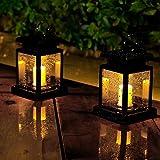Lanterne solari da giardino a candela da appendere con fiamma tremolante a LED, 2 lanterne da esterni, impermeabili, per decorazioni natalizie e feste (luce bianca calda)