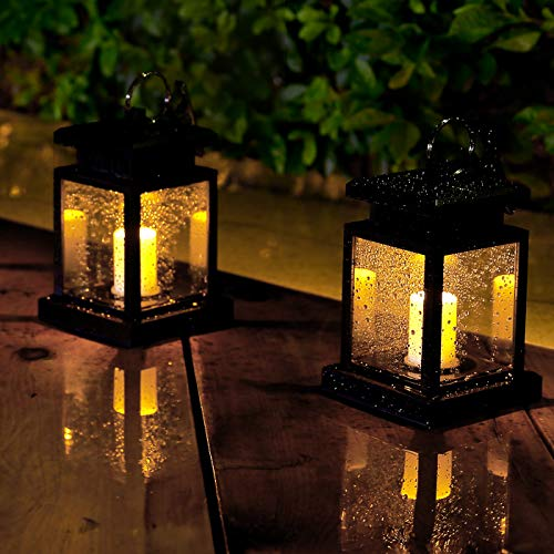 Solar Lanterns Garden Candle Lights Hanging with LED Flickering Flame, 2Pcs Outdoor Lantern Light Waterproof for Christmas Decoration and Party (Warm White Light)