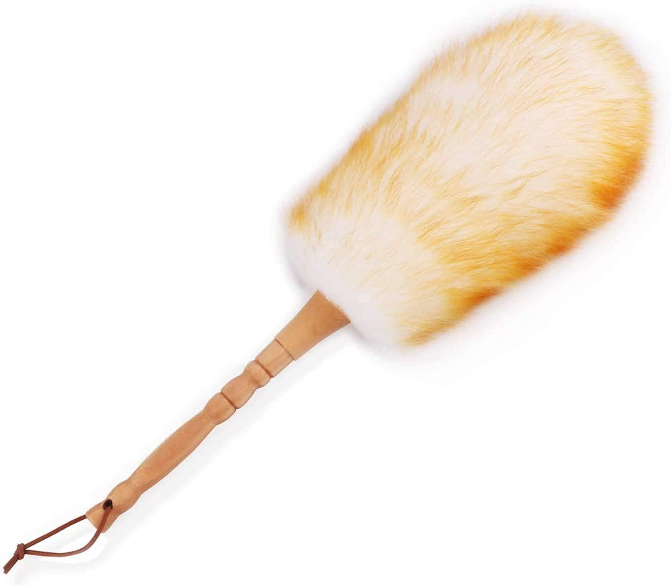A soft wool duster with a wooden handle.