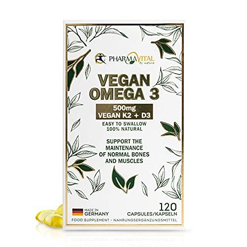 100% Vegan Omega 3 hochdosiert aus Deutschland mit EPA und DHA plus K2 Vital Delta und D3, veganes Omega3 aus Algen-Öl (120 Stück)