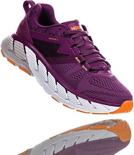 HOKA ONE ONE Women's Gaviota 2 Running Shoe, Grape Juice / Bright Marigold, 6