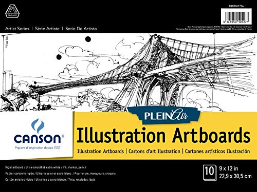 Canson Plein Air Illustration Smooth Art Board Pad for Ink, Markers and Pencils, 9 x 12 Inch, Set of 10 Boards