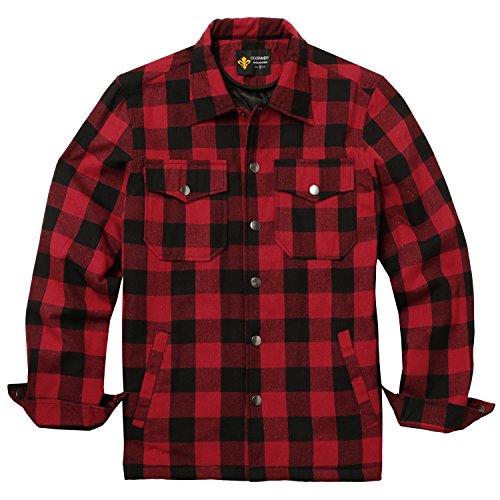 Photo of COOFANDY Men's Checked Inner Lining Winter Lumberjack Shirt Thermal Shirt Jacket Winter Jacket Coat – Red – L