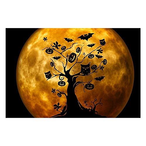 Murtall Stuks afdrukken op canvas, Halloween heks op bezem met oranje uil en rief, Canvas Schilderij Moderne muurkunst Afbeeldingen Wooncultuur Poster 40x60 cm