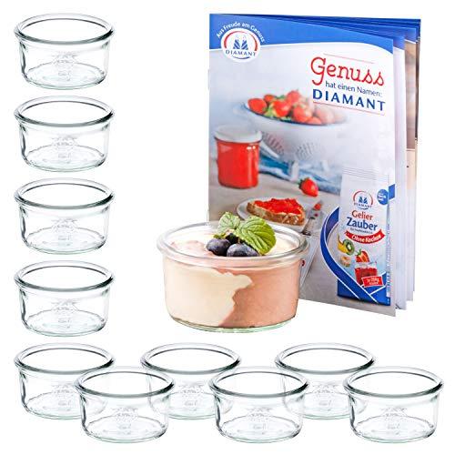 MamboCat Set van 12 mini-valglazen 165 ml + receptenboekje | transparant pastelglaasje | Ø 8,8 cm | levensmiddelen inkoken, bewaren & conserveren | wekaccessoires