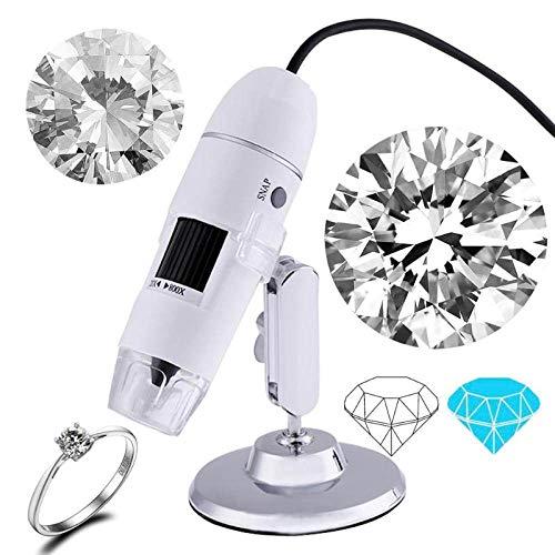 YOUZHA 800X 8 LED Microscopio digital portátil USB Endoscopio Zoom Cámara Lupa Microscopio electrónico profesional-Blanco