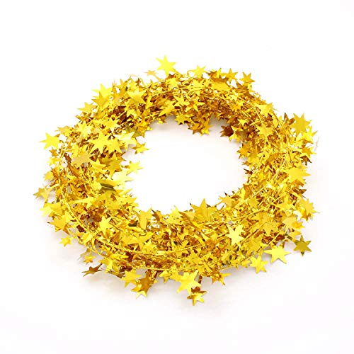 KLEHOPE 24FT Star Tinsel Garlands, Cuttable Decoration Tinsel with Wire, Tinsel Garland Used for Birthday Graduation, Wedding Engagement, Decoration Festive