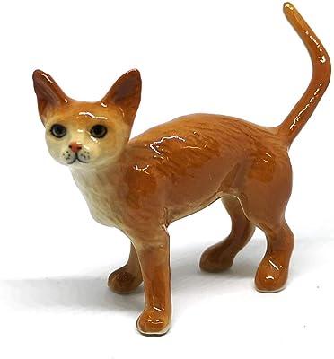 ZOOCRAFT Ceramic Burmese Cat Figurine Porcelain Handmade Miniatures Collectible Brown