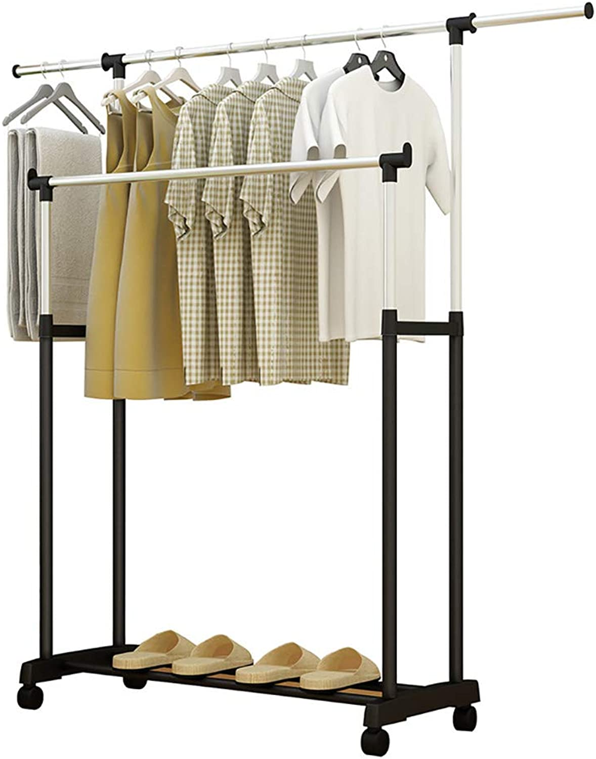 Floor-Standing Coat Rack Double Pole Simple Clothes Hanger Pulley it can Move Suitable for Bedroom Living Room Balcony