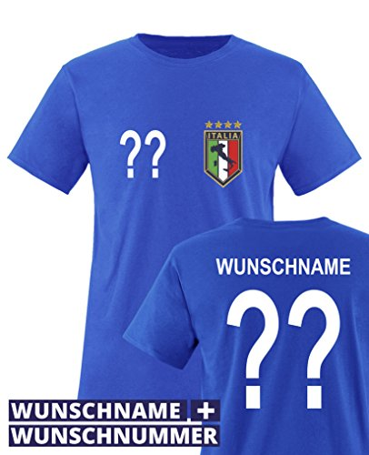 Comedy Shirts - WM 2014 - Italien - Wunsch - Kinder T-Shirt - Royalblau Gr. 122-128