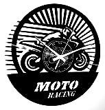Instant Karma Clocks Orologio in Vinile da Parete per Motociclista Corsa Pista Gara-Moto Racing, Vintage, Silenzioso