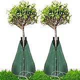 Tesmotor Bewässerungsbeutel für Bäume mit langsamer Abgabe, 75 Liter Einstellbar Baumbewässerungssack PVC-Gießbeutel für langsam freisetzende Pflanzen 2Pack